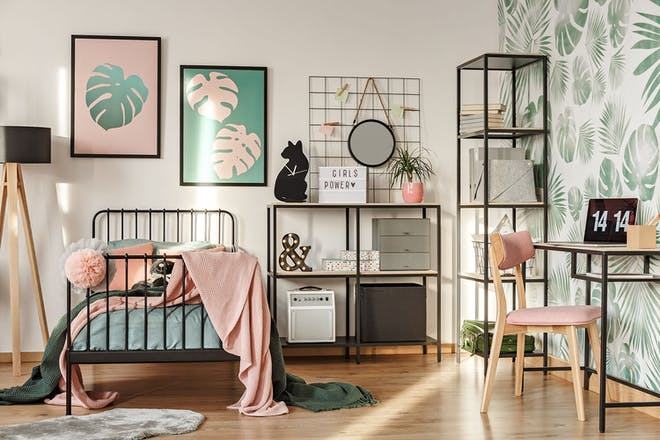 teenagers bedroom in shade of pink and green