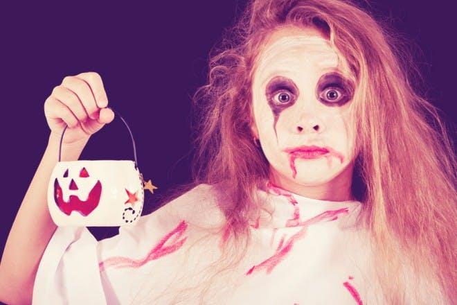 girl dressed as ghoul