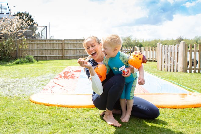 Helen Glover with her son eating Petits Filous