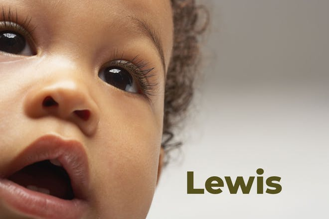 Close up of baby's face. Name Lewis written in text