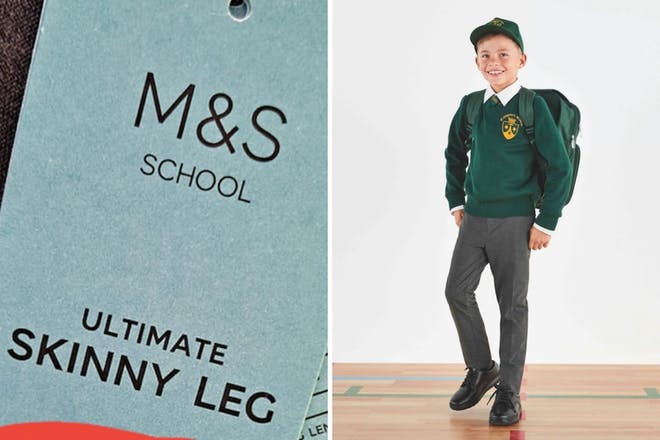 Left: Clothes labelRight: boy in school uniform
