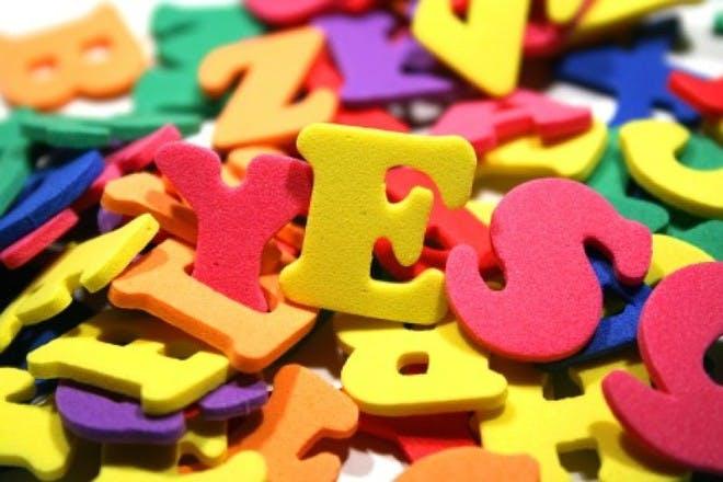 pile of colourful sponge letters