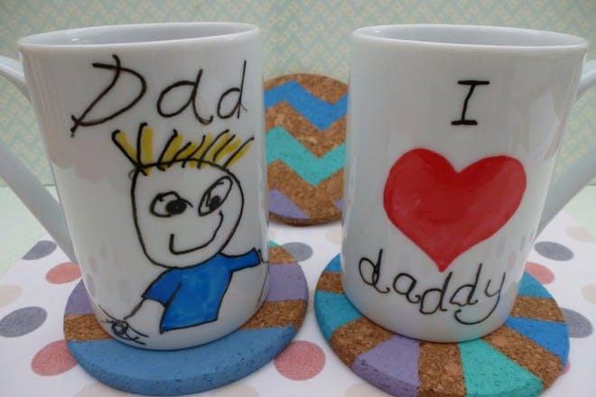 1. Hand decorated mugs