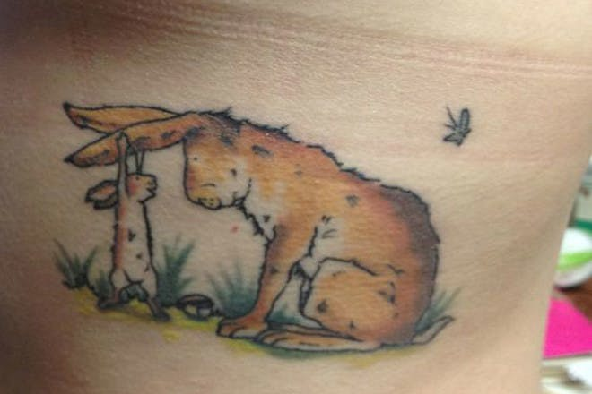 Mother and baby rabbit tattoo