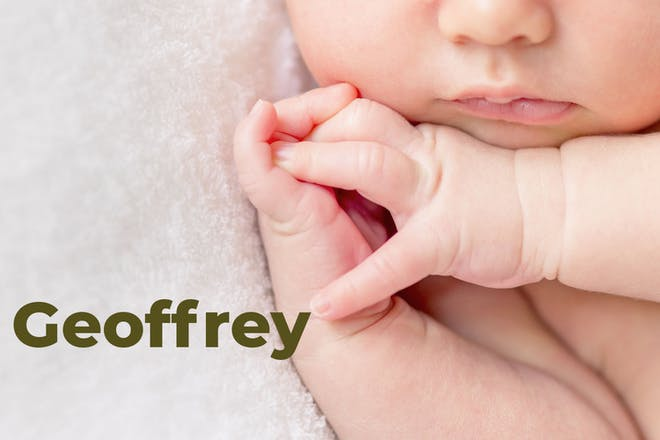 Sleeping baby's cheeks, mouth and hands. Name Geoffrey written in text