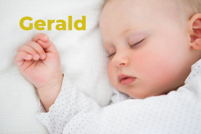 Baby sleeping. Name Gerald written in text