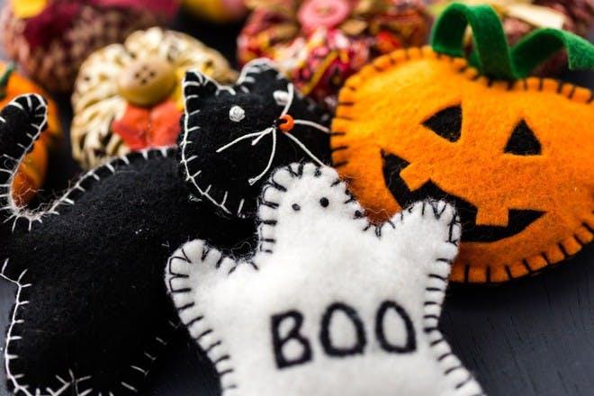 Cat ghost and pumpkin felt characters