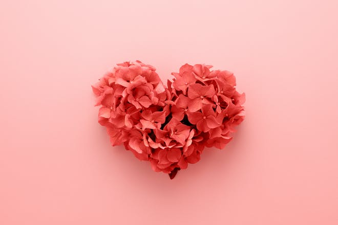 Love heart made from flowers