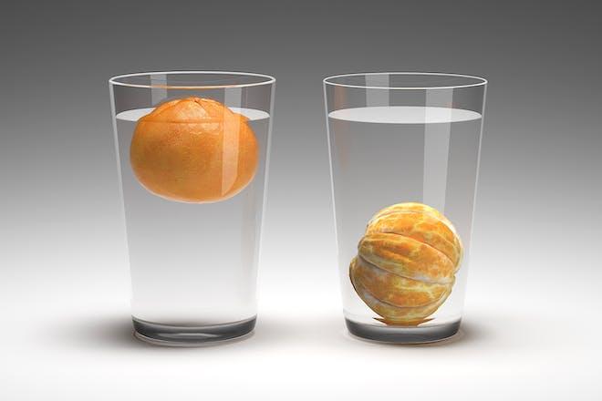 Floating orange experiment