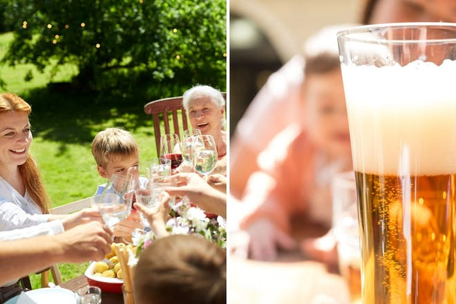 Left: Family drinking at tableRight: Glass of beer