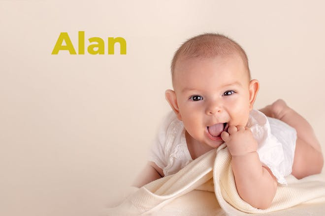 Baby pulling funny face holding blanket. Name Alan written in text
