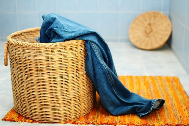 clothes in laundry basket