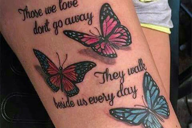 Butterfly miscarriage tatt0o reading Those we love don't go away They walk beside us every day