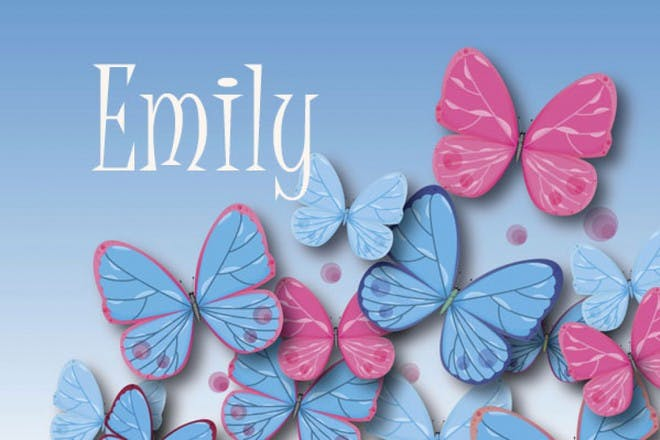 蓝色和粉红色的蝴蝶