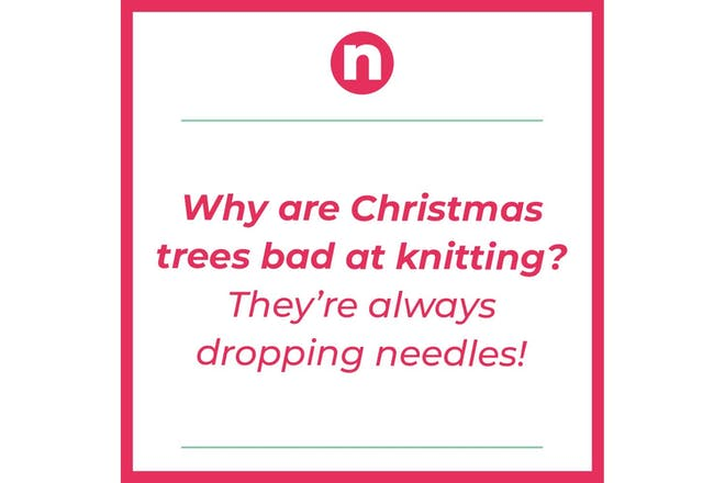 Text says: why are Christmas trees bad at knitting? They're always dropping needles!
