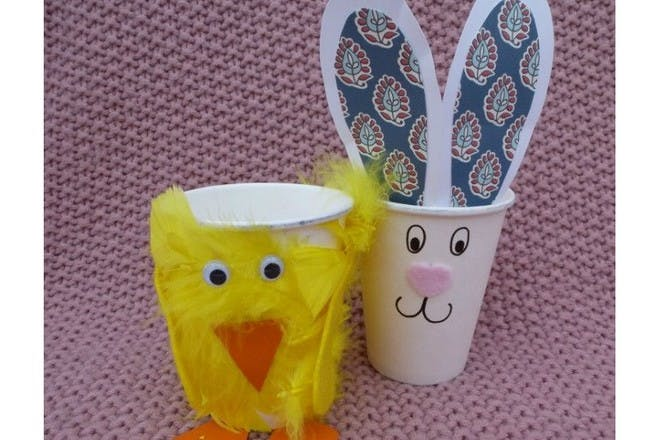 bunny and chicken paper cups
