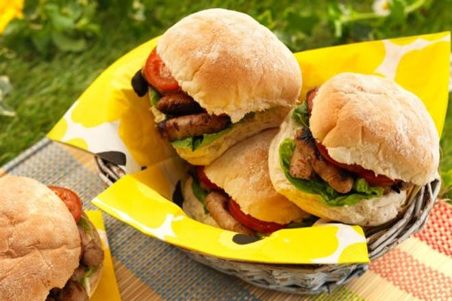 SLT sandwich with veggie sausages, lettuce & tomatoes