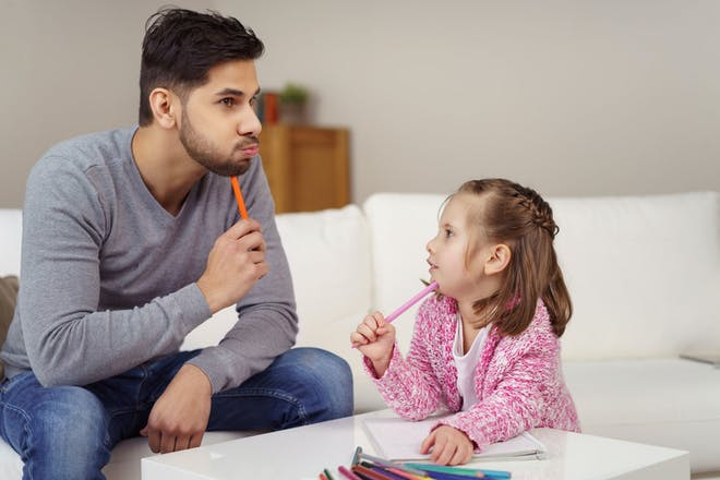 Dad and daughter thinking