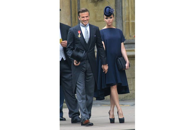 David and Victoria Beckham at the wedding of Prince William and Kate Middleton