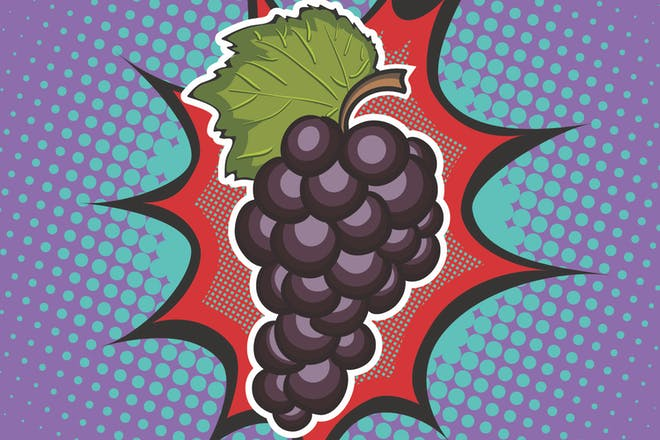 Pop art illustration of grapes