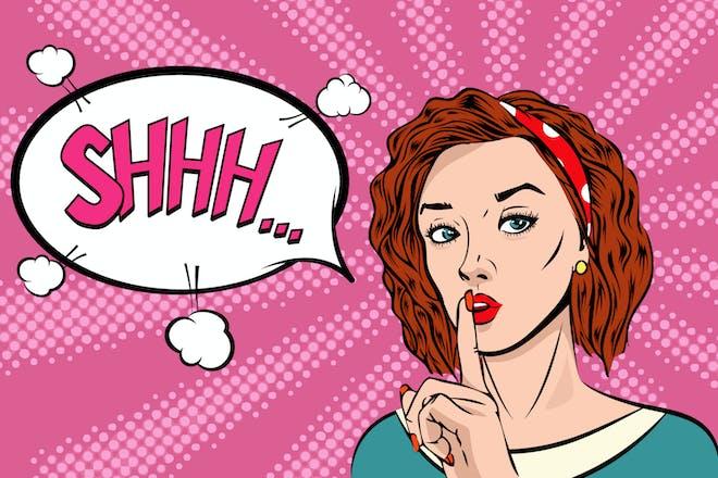 Cartoon of woman saying shhh