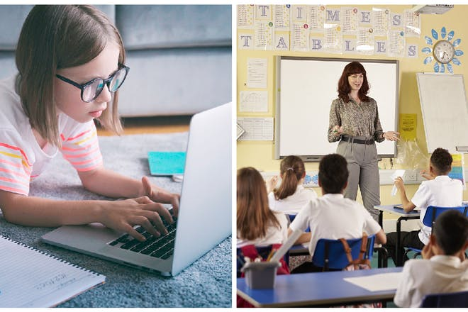 Left: girl wearing glasses. Right: classroom