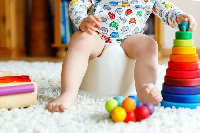 Child sat on potty