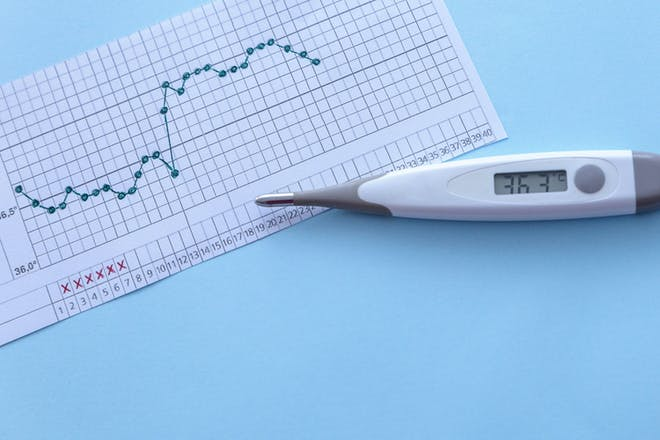 basal body temperature fertility chart with thermometer