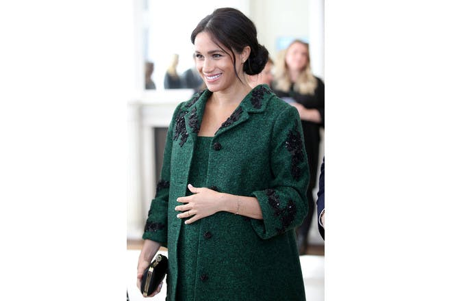 Meghan Markle green coat and dress