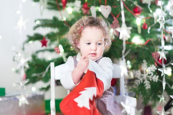 Toddler in front of Christmas tree
