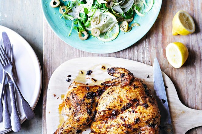 Roast chicken with fennel, watercress and lemon recipe