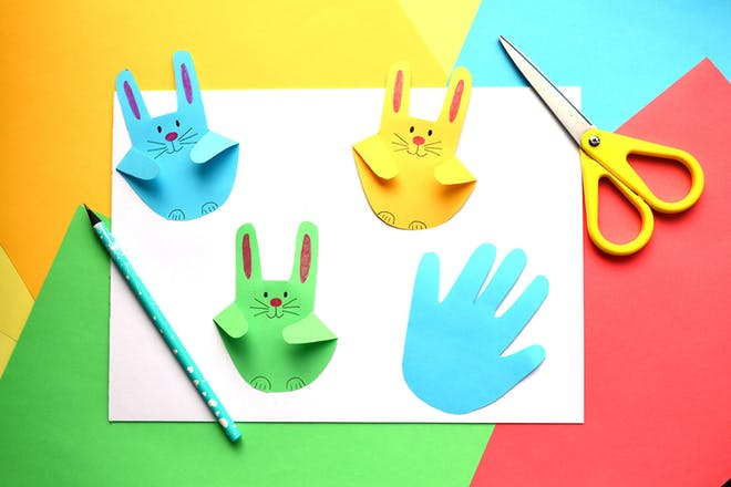 Coloured rabbits made from kids' handprints