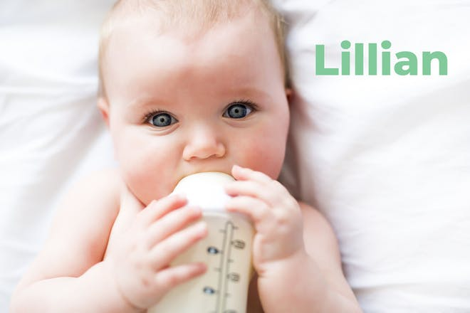 Baby drinking from a bottle. Name Lillian written in text