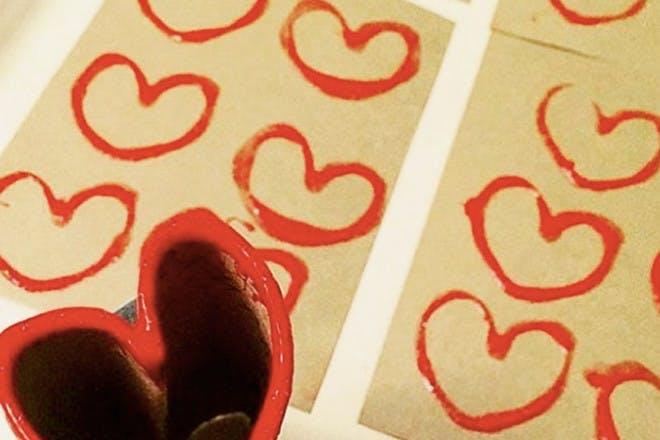 13. Toilet roll heart prints