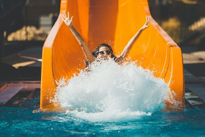 Woman on a water slide