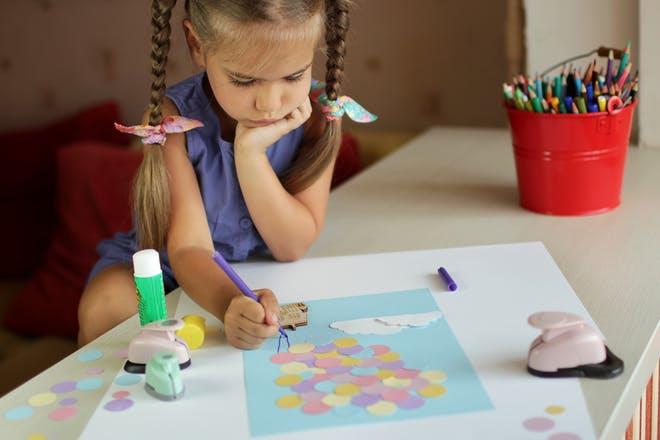 Girl doing arts and crafts