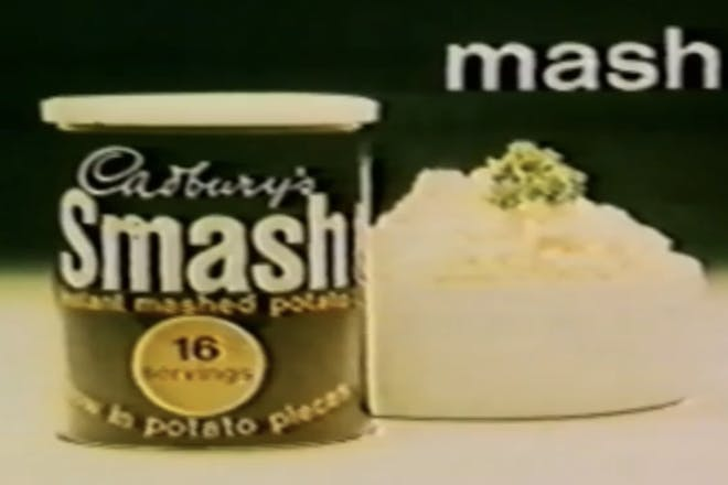 A container of Smash, instant mash potato from a vintage TV advert