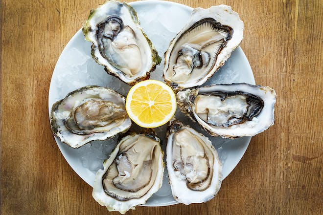 Oysters and lemon on ice on plate