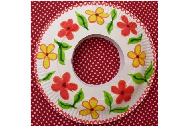 paper plate flower garland