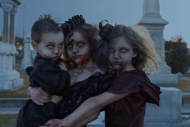 three zombie children