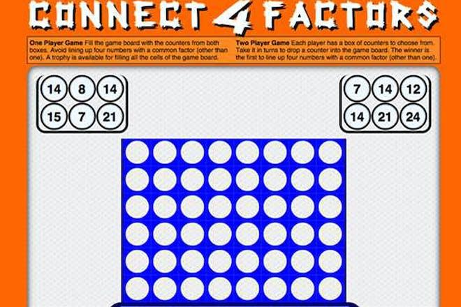 Connect 4 factors maths game