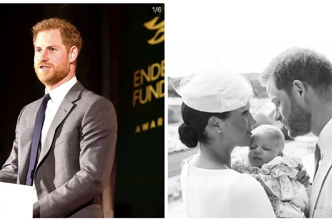 Left: Prince Harry Right: Prince Harry, Meghan Markle and Archie