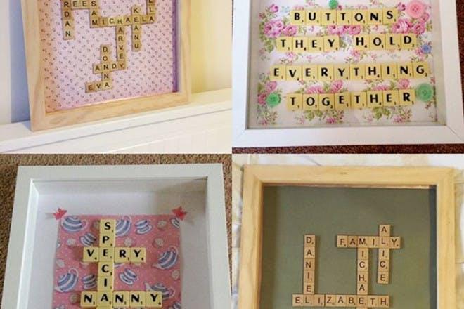 Framed handmade Scrabble pictures