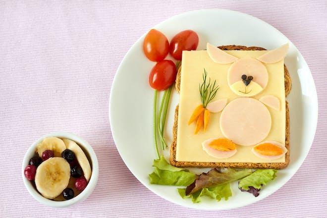 Cheese sandwich in rabbit shape