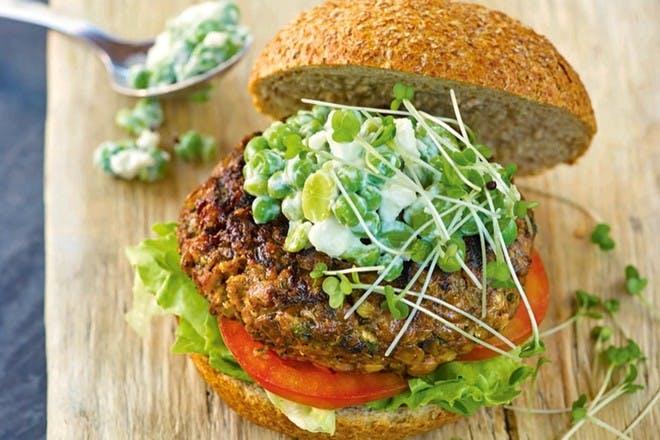 Mushroom, lentil and walnut burgers