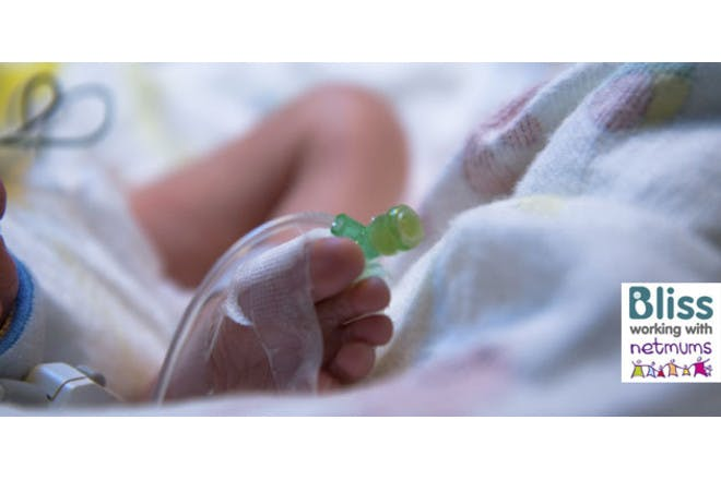 Premature baby foot with Bliss logo
