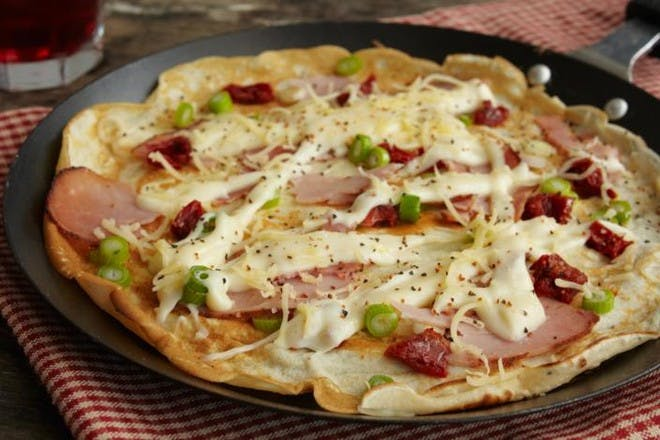 24. Savoury pancakes with ham and cheese