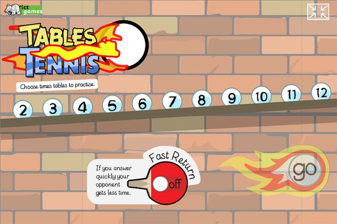 title page of maths game tables tennis asking kids to choose a times table to practise