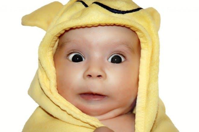 baby looking shocked