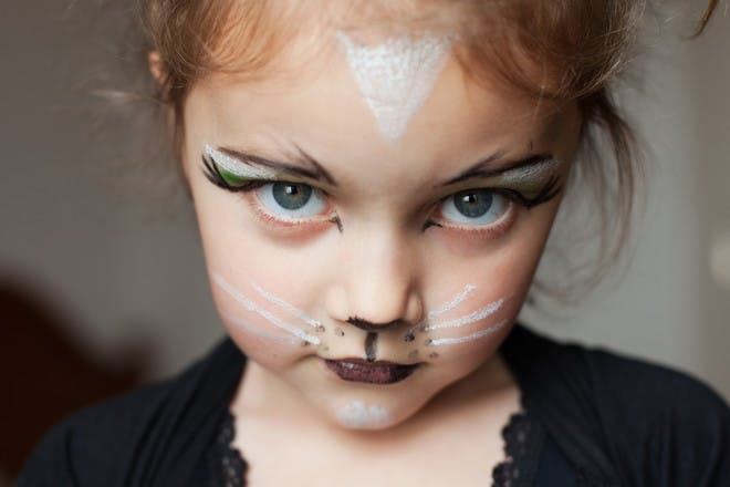 Halloween face paint for a cat